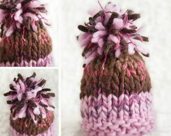 pink brown wool knit hat baby newborn kids