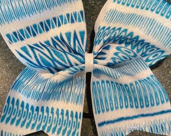 Blue design cheer bow