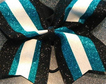 Teal, black and white cheer bow