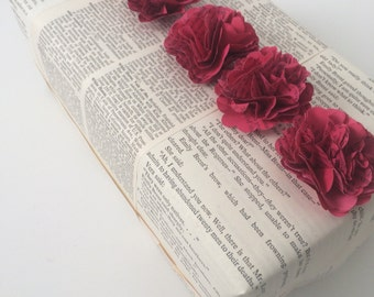 Red paper flowers, dyed book page flowers, romantic wedding engagement and anniversary