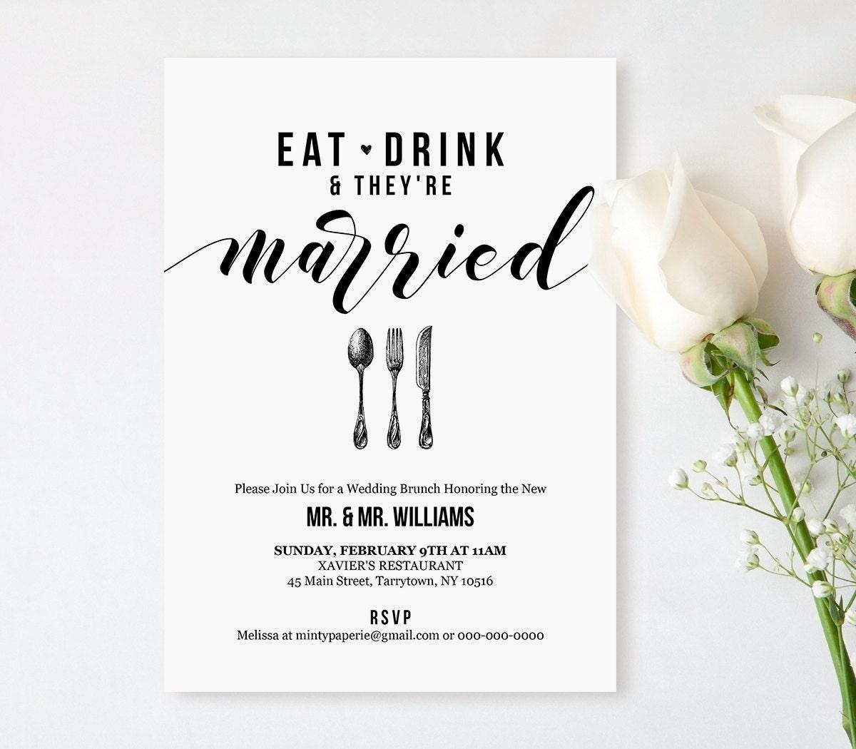 post wedding brunch invitation template, printable brunch invite, Wedding invitations