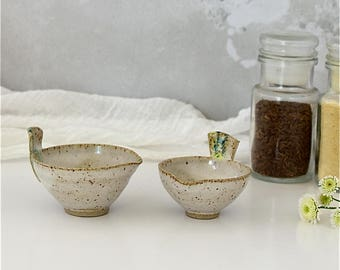 Set of two ceramic bird-shaped pouring bowls - handmade stoneware pottery