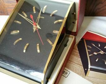 "Mid-Century Modern ""Ovivo"" desk/wall clock Original box  made in Germany"