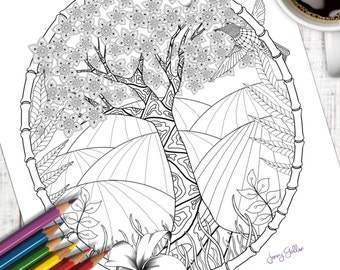 Printable Adult Colouring Page Exotic Tree