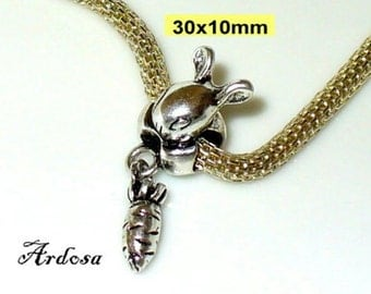 1 European bead Bunny with carrot silver 10x30mm (K601)