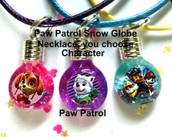 Paw Patrol snow globe necklace,jewelry,necklace,bracelet,earrings,gifts,paw patrol,everest,charms,charm,pendant,kids jewelry,kids necklace