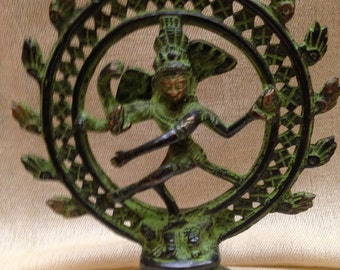 Natraj in Green Finish, Lord Shiva in Dancing position. Made out of Bronze. Made in Nepal
