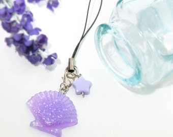 Lilac glitter shell phonestrap