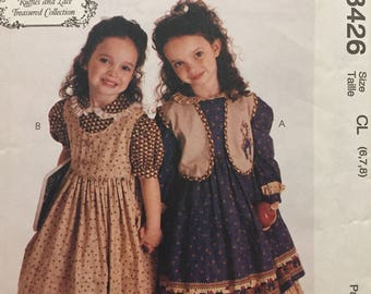 Ruffles and Lace Treasured Collection Girls Dress Jumper and Vest, McCalls no.8426 Sewing Pattern, Appliqué Vest Gathered, Size 6-7-8