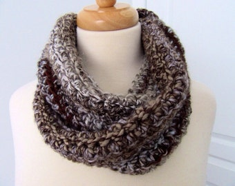 Brown, White and Blue Twisted Infinity Scarf