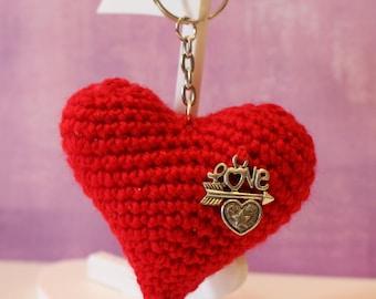 Heart Keyring-llavero del corazón-heart keychain-I love you-Valentine-crochet-crochet