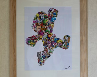 Super Mario Land doodle / Mario Bros doodle art / Retro gaming poster / Home decoration for geek / Heavy detailed Mario Kart drawing
