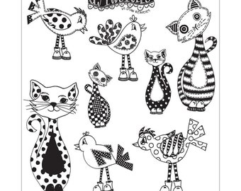 New Dylusions Cling Stamps - Cat Among Pigeons / Puppy Dog Tales - DYR55471/DYR55518 - Doddle Cats or Puppy Dogs/Mixed Media Stamps
