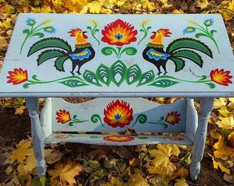 Folk hand-painted magazine rack table