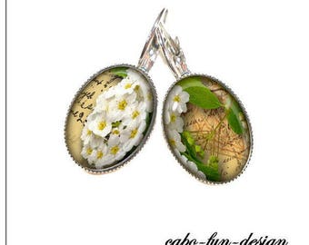 13 x 18 mm cabochon jewelry earrings Apple Blossom