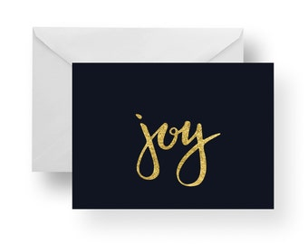Christmas Cards, Holiday Cards, Christmas Note Cards, Joy, Navy, Christmas stationery