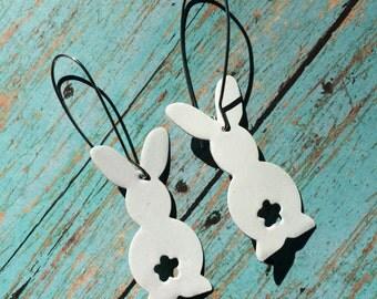 Bunny earrings, Easter earrings, spring earrings, handpainted metal earrings
