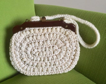 Vintage 60s Mid Century Ritter Its in the Bag Purse/Handbag Straw/Raffia with Crocheted Handle Made in Italy