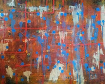 Raindrops, Original abstract art painting