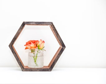 Hexagon Shelf / Floating Shelf - Copper with Ebony Stain