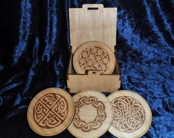 Boxed set of four Celtic Knot wooden coasters