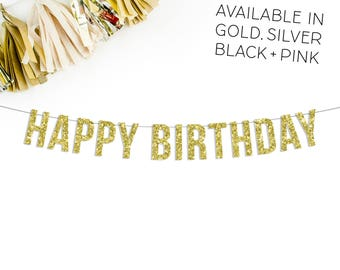 Happy Birthday Banner | happy birthday party decorations pink gold silver black birthday decor birthday sign