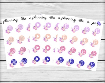 Floral Social Media Icon Stickers // Colourful Planner Stickers