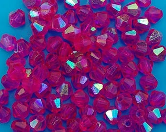100x Pink crystal beads 4mm bicones Austrian faceted cerise glass jewellery making diy jewelry rosary earring bracelet necklace UK