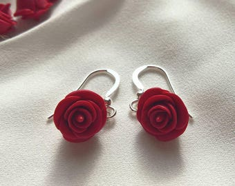 Red Rose 925 Sterling Silver Bead Drop Earrings - Hand Sculpted Polymer Clay