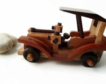 Vintage wooden toy car model