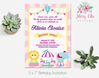 Pastel Carnival Birthday Party Invitation, Circus Animals, Carousel, Printable Birthday Invitation, 5x7, Digital File