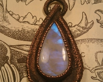 Moonstone and Real Bone Antiqued Copper Pendant