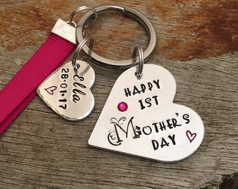 Personalized Keychain, 1st Mother's Day, Gift for New Mummy, New Mum Keychain