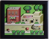 "EarthBound (SNES) - ""Onett"" 3D Video Game Shadow Box with Glass Frame"
