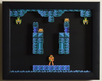 "Metroid (NES) - ""Brinstar"" 3D Video Game Shadow Box with Glass Frame"
