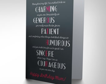 Mum Birthday Card /  Mother / Mother Gift / All These Things Poem / Blank Card CP2710