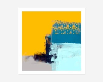 Modern Abstract Art Print - Yellow & Blue Coloured Wall Art, Contemporary Abstract Prints, Bright Colourful Wall Art, Home Decor