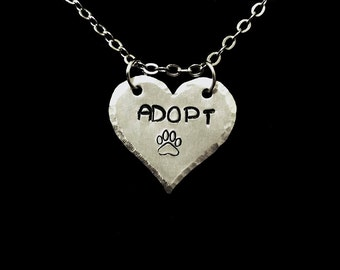 Adopt Heart Hand Stamped Necklace