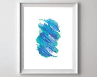 Turquoise Art, Turquoise Print, Abstract Wall Art, Printable Art, Modern Wall Art, Brush Stroke, Brush Poster, Brush Print, Printable Decor