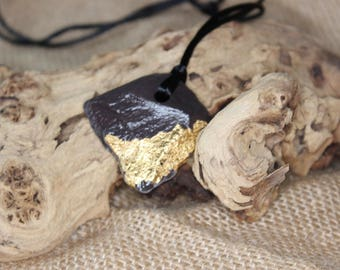 Slate necklace with gold leaf, Kumihimo cord