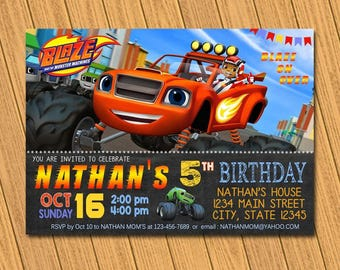 Blaze Invitation / Blaze Birthday Invitation / Blaze Invite / Blaze Birthday / Blaze Party / Blaze Printable / Blaze Card / Blaze