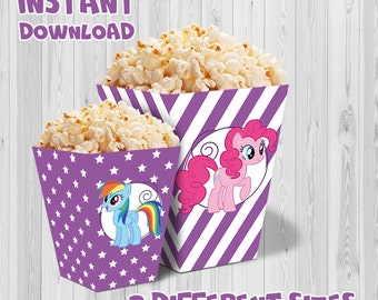 My Little Pony party popcorn box (Purple color), Printable My Little Pony party set, My Little Pony Party decoration, instant download, DIY.