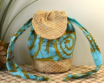 Drawstring Wristlet Purse in Brilliant Teal and Brown Batik Fabric, Drawstring Purse Styled Like a Mini Flat Bottom Backpack with Lid