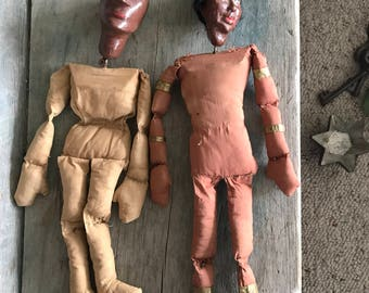 Set of 2 Vintage Marionettes |  Primitive Marionette Dolls with Beaded Moccasins and Cigar Band Ornaments