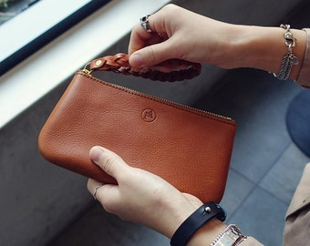 Jane Leather Pouch M Brown, Handmade wallet