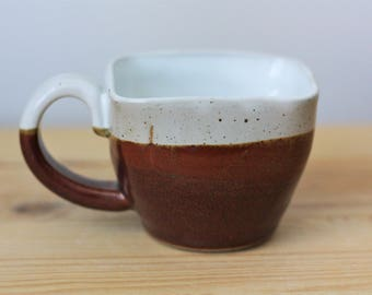 Red Brown and White Ceramic Espresso Cup – Pottery Espresso Cup – Small Espresso Mug – Pottery Teacup