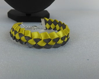 Bracelet braided man / yellow and gray/satin ribbon