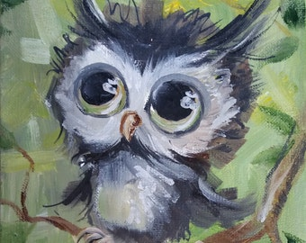 Owl Painting Owl Wall decor Original oil painting Miniature Canvas art  Gift for her Birthday gift Christmas Gift