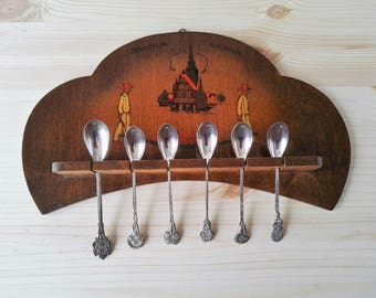 Vintage Dutch Wooden Spoon Rack with 6 Decorative Tea Spoons - Dutch Home Décor - Handpainted Souvenir from Holland