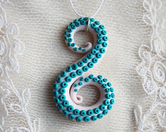 Christmas in july White octopus tentacle Tentacle pendant Tentacle necklace Turquoise tentacle Summer necklace Summer outdoor Summer party
